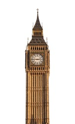 Big Ben tower (London, UK) isolated on white background