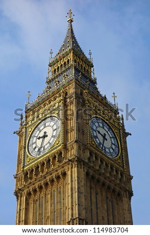 Big Ben Westminster Palace Elizabeth Clock Tower in London UK. - stock photo