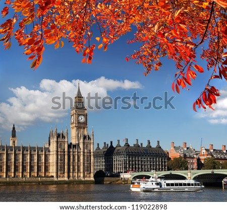 Big Ben with boat in London, England