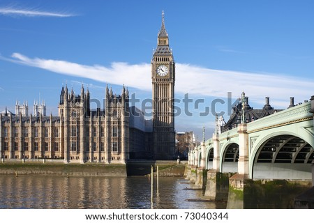 Big Ben with bridge, London, UK - stock photo