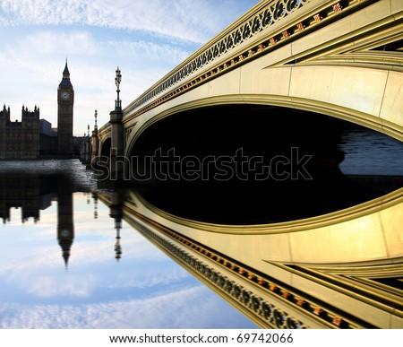 Big Ben with bridge, Westminster, London, UK