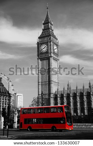 Big Ben with city bus in London UK
