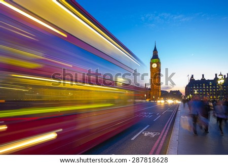 Big Ben with Double Decker bus and crowd at London, UK