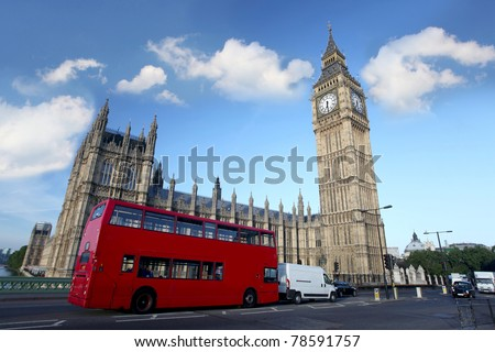 Big Ben with double decker, London, UK