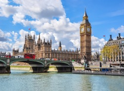 Big Ben with Houses of Parliament and Westminster bridge, London, UK