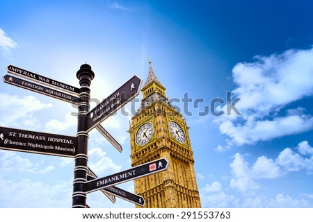 Big Ben with street signs in London United Kingdom