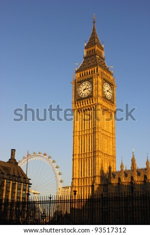 Big Ben with the London Eye in the background
