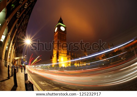Big Ben with traffic in the evening, London, UK - stock photo