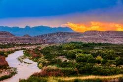 Big Bend National Park, near Mexican border, USA at sunset
