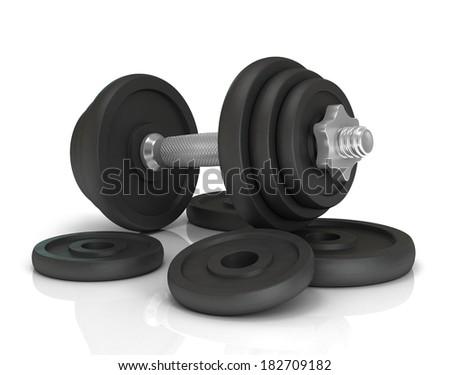 Big black dumbells over white background