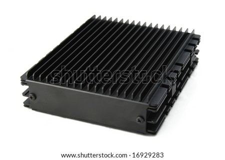 Big black passive cooler and silencer for computer harddisc (hdd) taked from frontside.