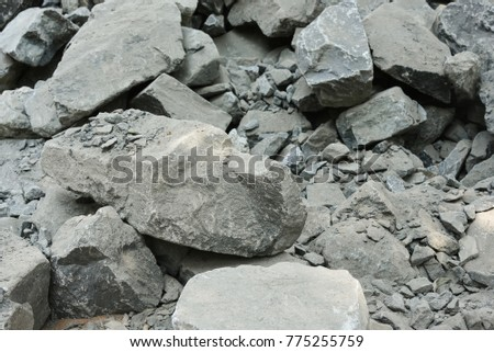 Crushed stone for mix cement in construction site Images and
