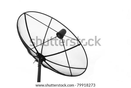 Big Black Satellite Dish isolated on White sky