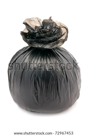 Big black tied garbage bag. Isolated on white