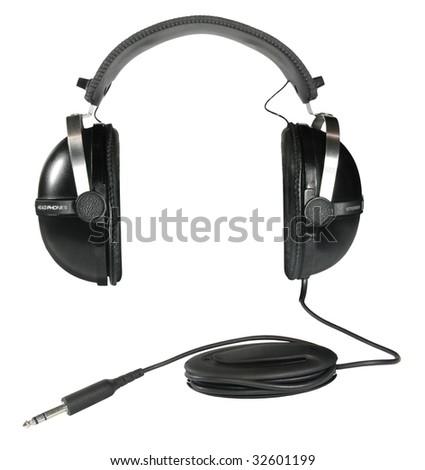 Big black vintage stereo headphones isolated