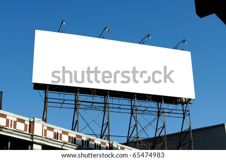 Big blank billboard on building, clipping path included