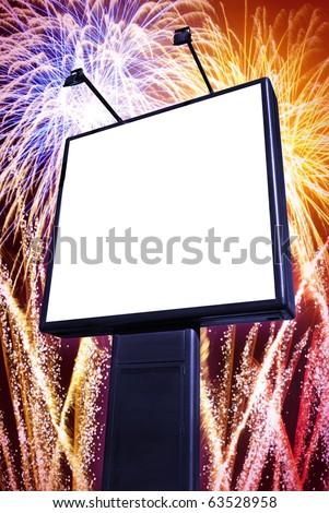 Big blank billboard with colorful firework  in the background