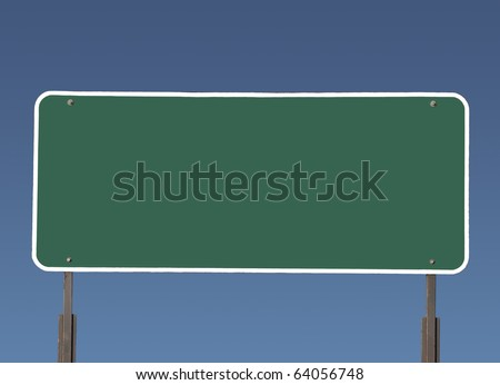 Big blank green highway road sign with gradient blue sky.