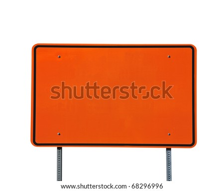 Big blank orange highway road sign isolated on white.