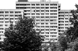 Big block of Flats in Goettingen Lower Saxony Germany black and white
