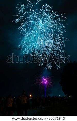 Big blue and purple fireworks with silhouettes of a tree and of people watching