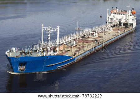 Big blue barge on Volga River