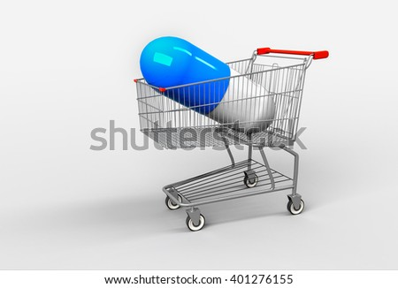 Big blue capsule with medicines lying on shopping cart. Concept of buying medicines. 3d render