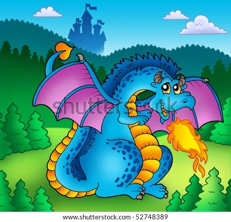 Big blue fire dragon with old castle - color illustration. - stock photo