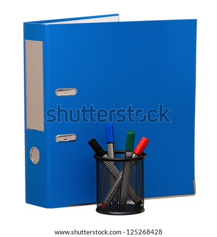 Big blue folder and markers, isolated on white background
