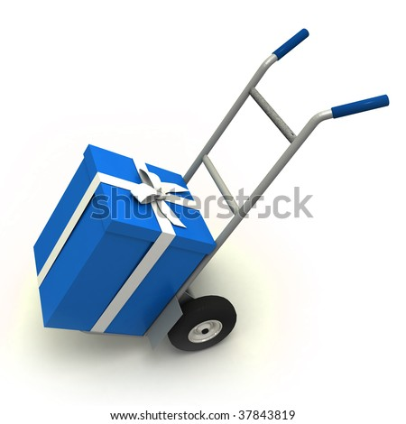 Big blue gift box in a push cart