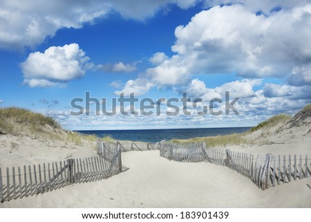 Big blue sky, clouds and dunes at Race Point Beach on Cape Cod, Provincetown, Massachusetts