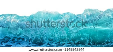 Big blue stormy sea wave isolated on white background. Climate nature concept. Front view. #1148842544
