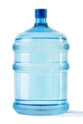 Big Blue Transparent Pet plastic water bottle for cooler. 19 liter, 5 gallon refillable plastic water BPA free jug dispenser. Concept of a mineral water delivery for homes and offices. Studio shot.