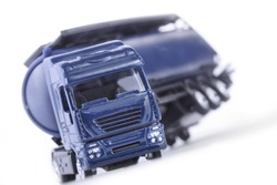 Big blue truck in an accident on white background