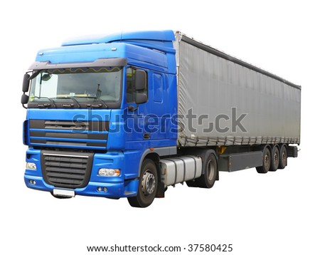 Big blue  truck isolated over white.