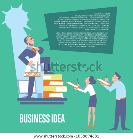 Big boss in roman toga and laurel wreath standing on office table before subordinate workers. Business idea banner, isolated illustration on green background. Teamwork concept. Startup idea