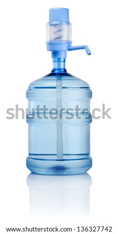 Big bottle of water with pump isolated on a white background
