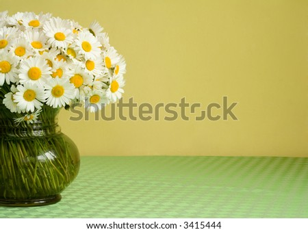 Big bouquet of daisies in a vase on a green tablecloth in front of a yellow wall -  natural light - lots of copy space
