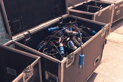 Big box for different sound cables, equipment for concert