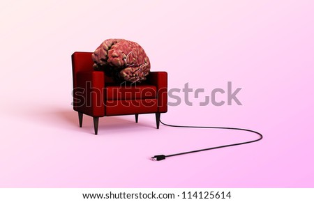 big brain relaxing in a red armchair isolated on pink background