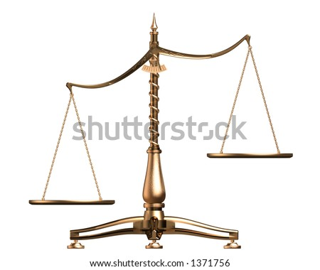 Big brass empty scales unbalanced conceptual isolated on white background