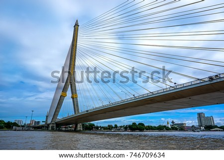 big bridge in Bangkok, this picture is taken while the boat on one day is the clear air blue sky #746709634