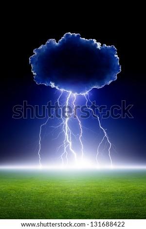Big bright lightning from cloud, green grass field, dark night sky