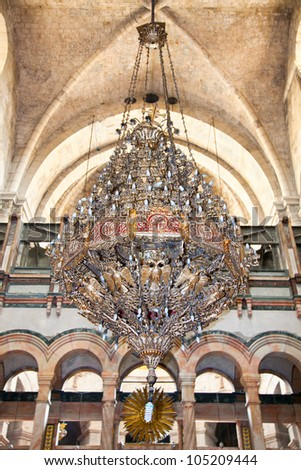 Big bronze chandelier in Church Of The Holy Sepulchre. Jerusalem. Israel