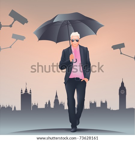 Big Brother is watching  Businessman in suit and glasses walking under umbrella - London skyline with Big Ben and Westminster