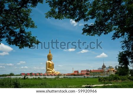 Big Buddha at Muang temple, Angthong, Thailand