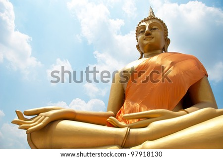 Big Buddha statue and Blue Sky in Wat thai, Bangkok, Thailand.