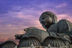 Big Buddha statue High mountain, buddhist temple in Hong Kong China
