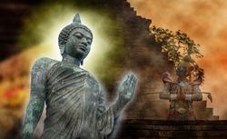 Big buddha statue in Phutthamonthon bangkok thailand,
