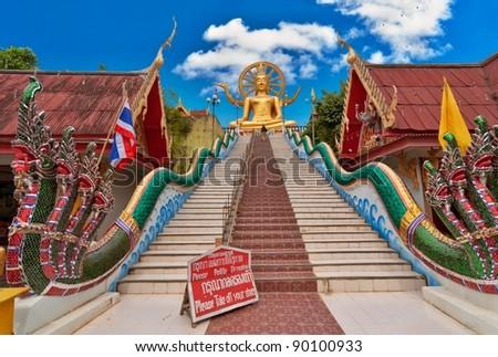 Big Buddha statue in Wat Phra Yai Temple, Koh Samui island, Thailand - stock photo